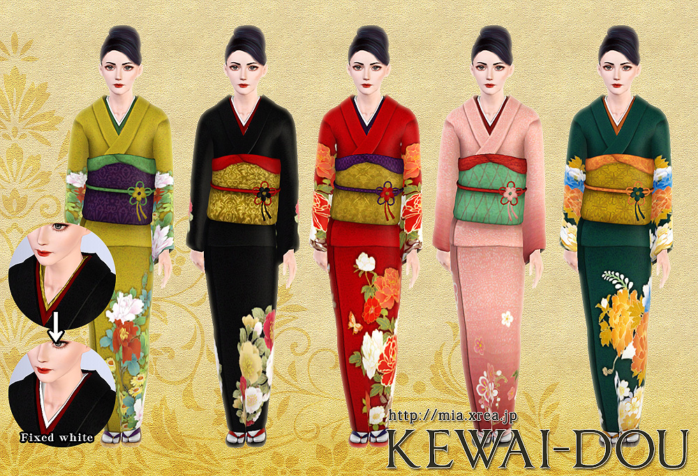 Japanese Kimono Set For Females Kewai Dou