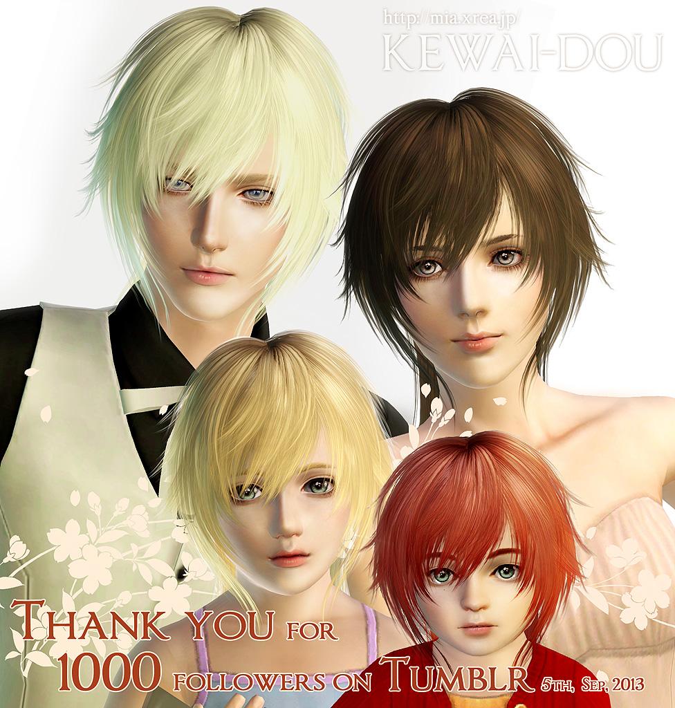 Tumblr1000 Hair For The Sims3 Kewai Dou