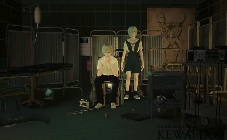"KEWAI-DOU Sims3 ""Rei Ayanami & Kaworu Nagisa from Evangelion""2"