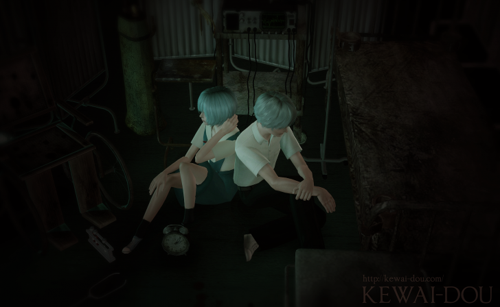 "KEWAI-DOU Sims3 ""Rei Ayanami & Kaworu Nagisa from Evangelion""3"