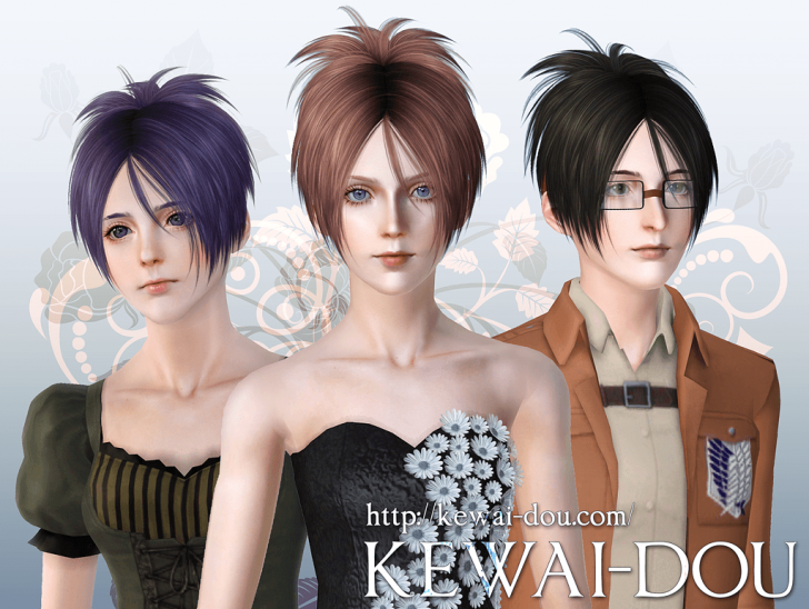 KEWAI-DOU Sims3 Sangrose hair for female