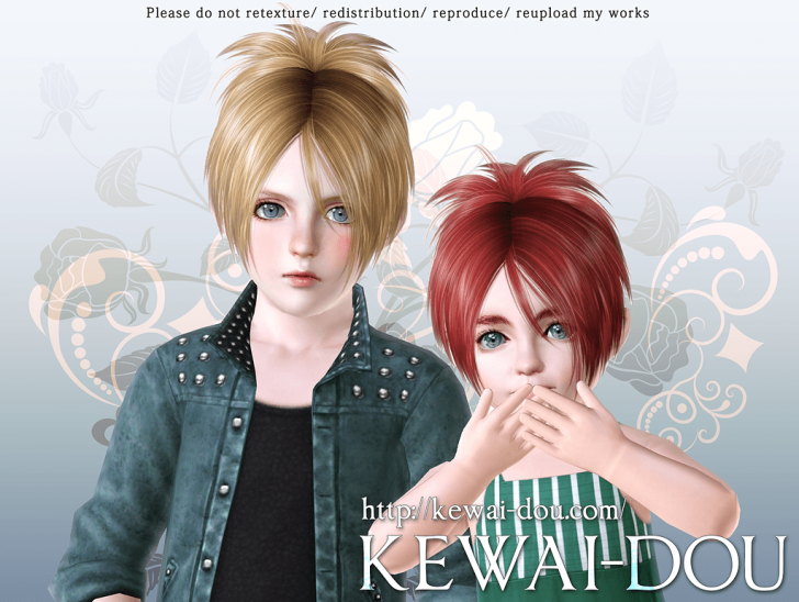 KEWAI-DOU Sims3 Sangrose hair for child and toddler