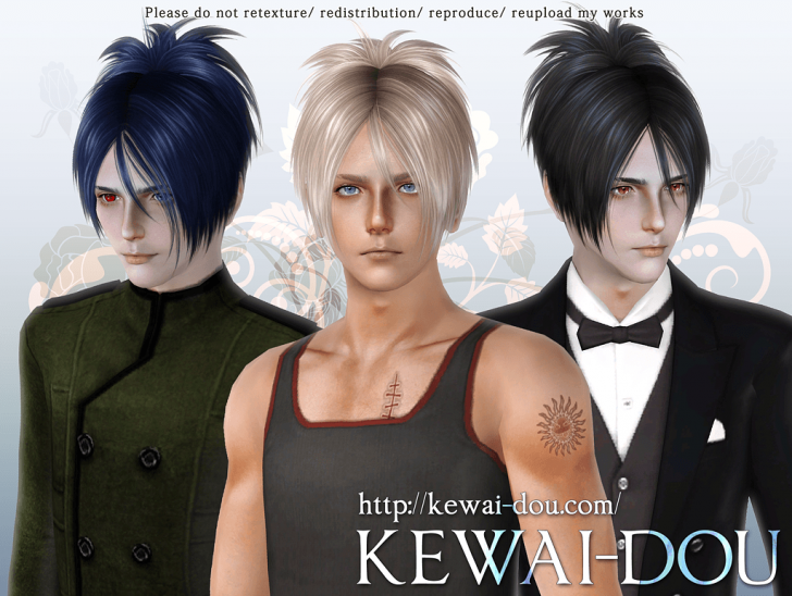 KEWAI-DOU Sims3 Sangrose hair for male