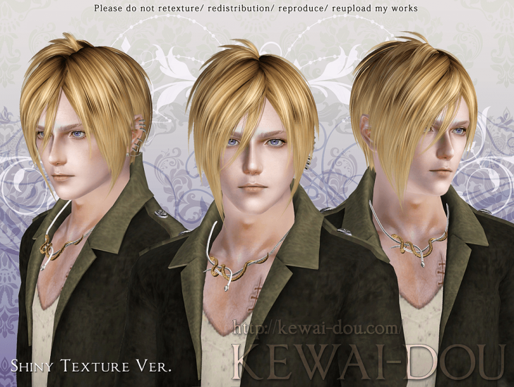 KEWAI-DOU Sims3 Michaelis hair Shiny texture ver for male