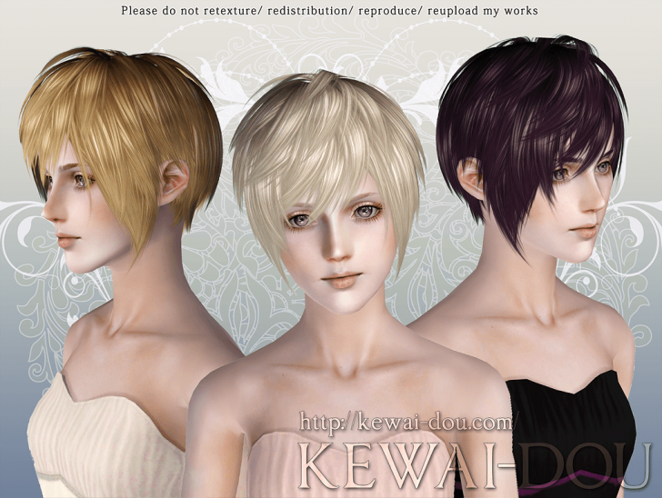 KEWAI-DOU Sims3 Masquerade hair for female