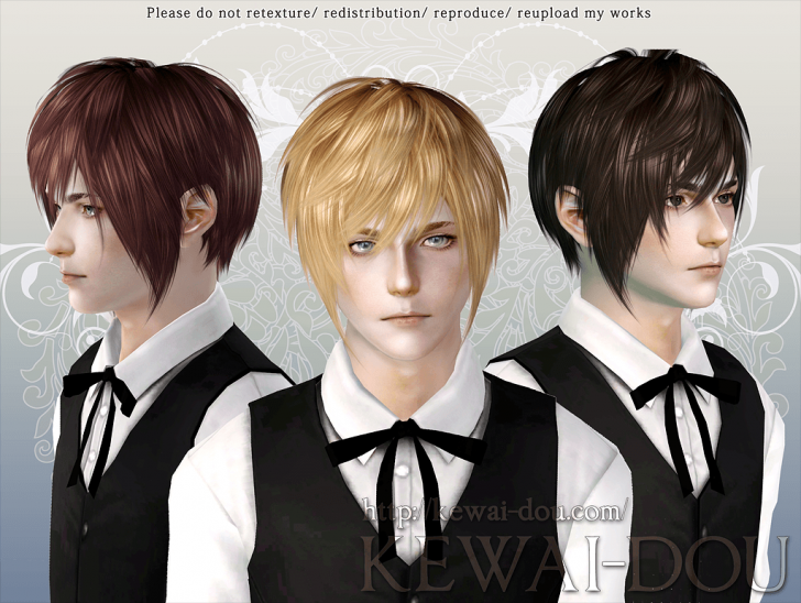 KEWAI-DOU Sims3 Masquerade hair for male