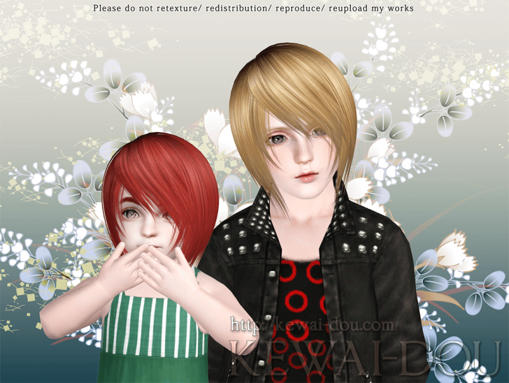 KEWAI-DOU Sims3 Shikishima hair for child and toddler