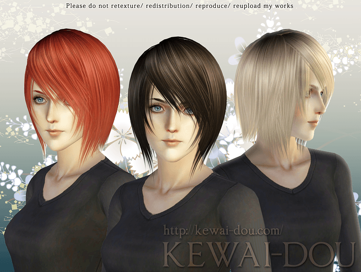 KEWAI-DOU Sims3 Shikishima hair for female
