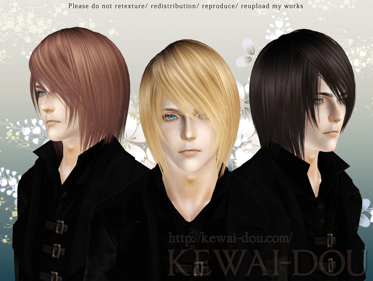 KEWAI-DOU Sims3 Shikishima hair for male