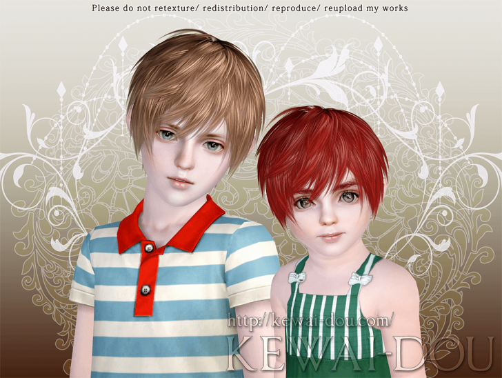 KEWAI-DOU Sims3 Lezginka hair for child and toddler