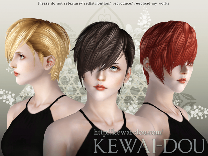 KEWAI-DOU Sims3 Cavallo hair for female