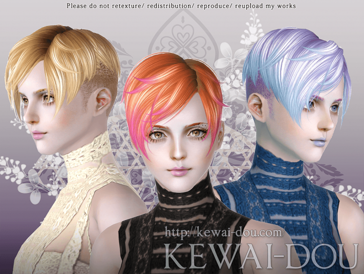KEWAI-DOU Sims3 DragQueen hair for female