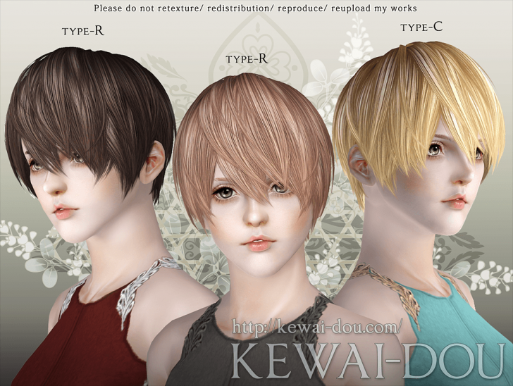 KEWAI-DOU Sims3 Riccio hair for female