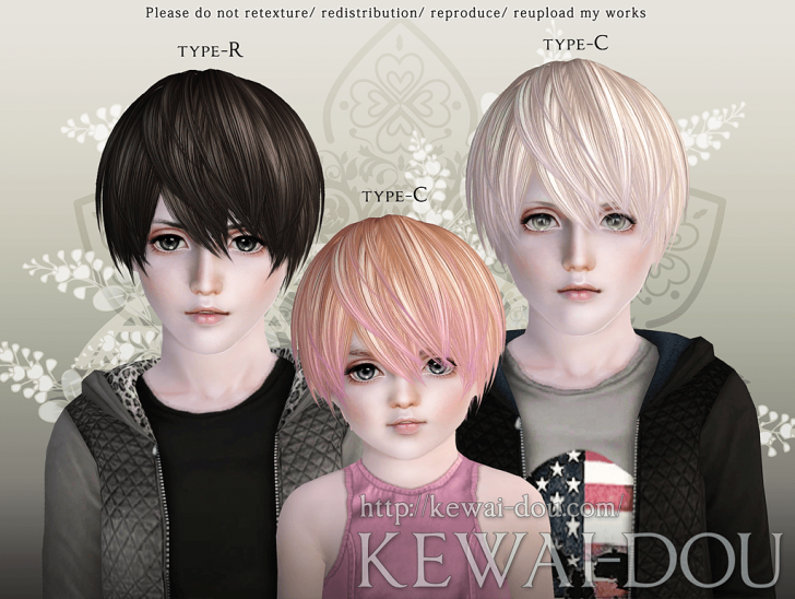 KEWAI-DOU Sims3 Riccio hair for child and toddler