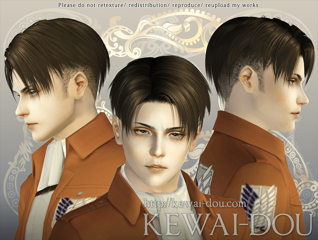 Levi Shaved Ver Hair For The Sims3 Kewai Dou