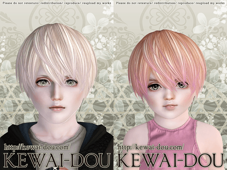 KEWAI-DOU Sims3 Riccio hair sample2