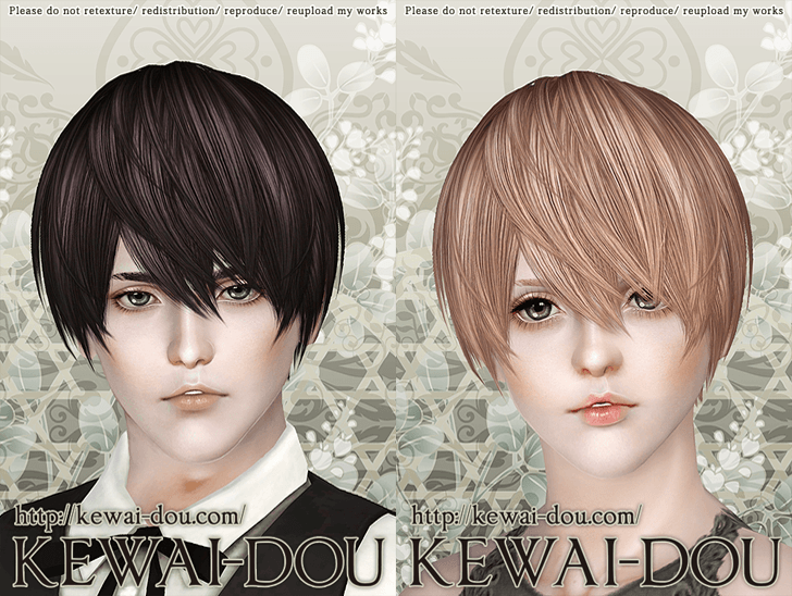 KEWAI-DOU Sims3 Riccio hair sample1