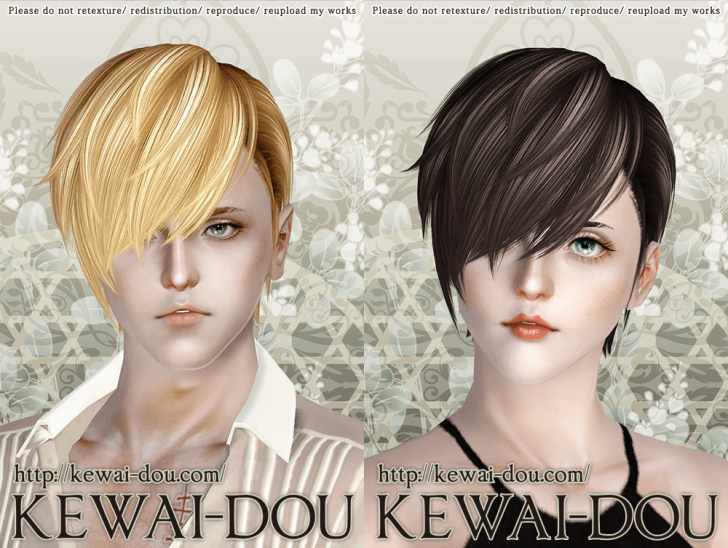 KEWAI-DOU Sims3 Cavallo hair sample1