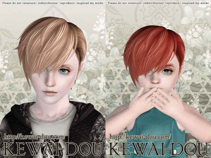 KEWAI-DOU Sims3 Cavallo hair sample2