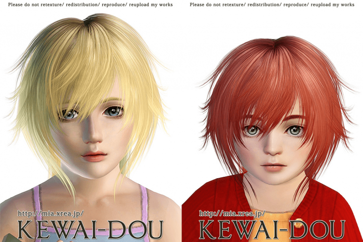 KEWAI-DOU Sims3 Tumblr1000 hair sample2