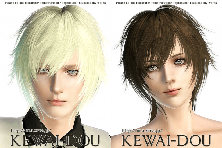 KEWAI-DOU Sims3 Tumblr1000 hair sample1