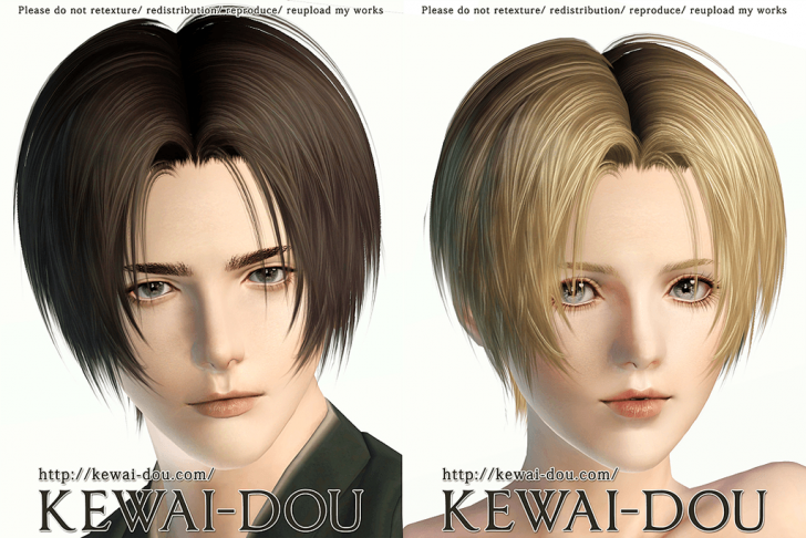 KEWAI-DOU Sims3 Tumblr2000 hair sample1