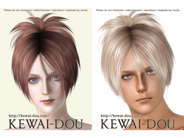 KEWAI-DOU Sims3 Sangrose hair sample1