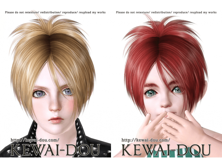 KEWAI-DOU Sims3 Sangrose hair sample2