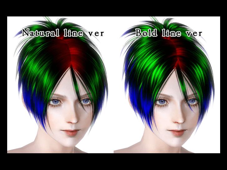 KEWAI-DOU ザ・シムズ3 髪型「Sangrose」マスクカラー
