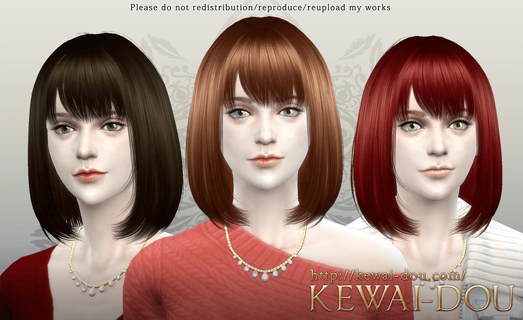 Cecile The Sims4 Female Hair Kewai Dou