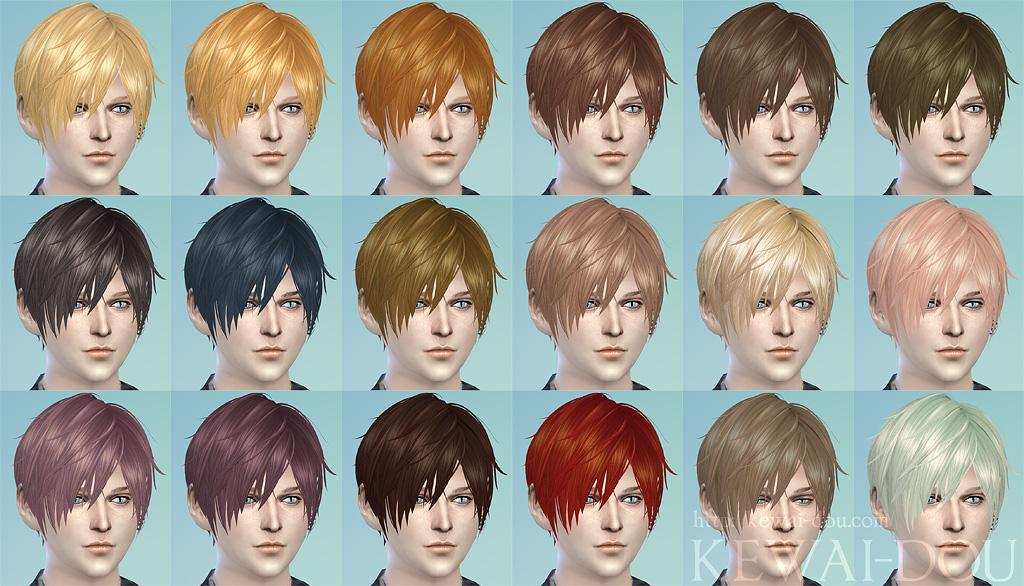 3kan4on The Sims4 Male Female Hair Kewai Dou