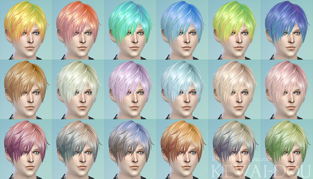 3kan4on The Sims4 Male Female Hair Kewai Dou